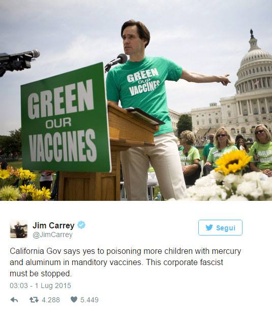 vaccini, autismo, jim carey